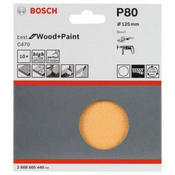 Bosch 10-dielna súprava brúsnych listov C470 125 mm, 80