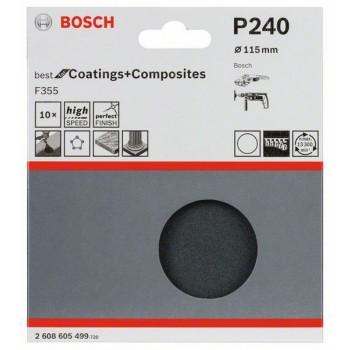 Bosch 10-dielna súprava brúsnych listov F355 115 mm, 220