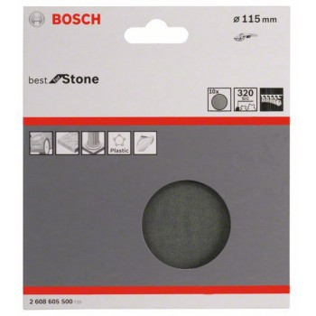 Bosch 10-dielna súprava brúsnych listov F355 115 mm, 320