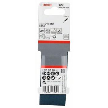 BOSCH 3-dielna súprava brúsnych pásov X450 40x305mm, 120