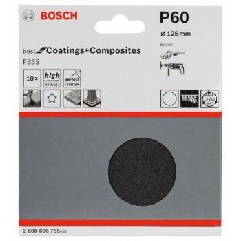 Bosch 10-dielna súprava brúsnych listov F355 125 mm, 60