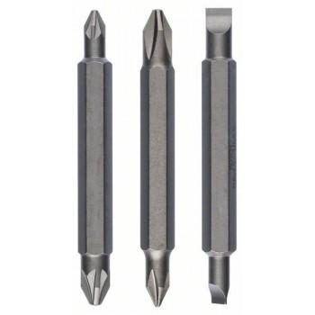 BOSCH 3-dielna súprava obojstranných čepelí PH1, PZ1, S 0,6x4,5; PH2, PZ2, S 1,0x5,5; 60 mm