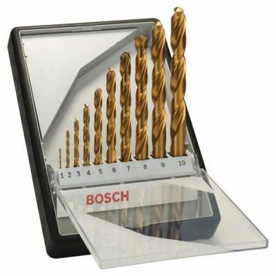 BOSCH 10-dielna súprava vrtákov do kovu Robust Line HSS-TiN, 135° 1</br> 2</br> 3</br> 4</br> 5</br> 6</br> 7</br> 8</br> 9</br> 10 mm, 135°