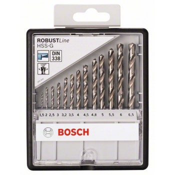 BOSCH 13-dielna súprava vrtákov do kovu Robust Line HSS-G, 135° 1,5</br> 2</br> 2,5</br> 3</br> 3,2</br> 3,5</br> 4</br> 4,5</br> 4,8</br> 5</br> 5,5</br> 6</br> 6,5 mm, 135°