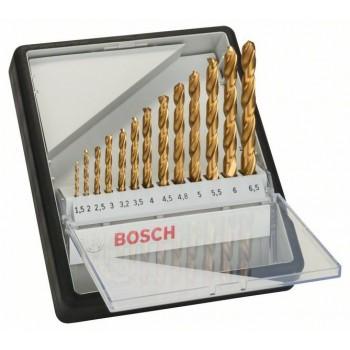 BOSCH 13-dielna súprava vrtákov do kovu Robust Line HSS-TiN, 135° 1,5</br> 2</br> 2,5</br> 3</br> 3,2</br> 3,5</br> 4</br> 4,5</br> 4,8</br> 5</br> 5,5</br> 6</br> 6,5 mm, 135°