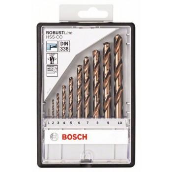 Bosch 10-dielna súprava vrtákov do kovu Robust Line HSS-Co 1</br> 2</br> 3</br> 4</br> 5</br> 6</br> 7</br> 8</br> 9</br> 10 mm