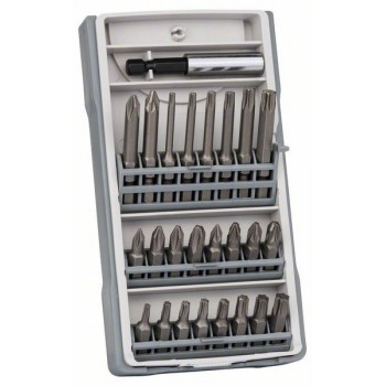 BOSCH 25-dielna súprava skrutkovacich bitov PH1, PH2 (2 x 25 mm), PH3, PZ1, PZ2 (2 x 25 mm), PZ3, T10, T15, T20 (2 x 25 mm), T25, T27, T30, T40, T10, T15, T20, T25, T30, T40, PH2 (1 x 49 mm), PZ2 (1 x 49 mm), Bitholder