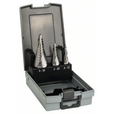 BOSCH 3-dielna súprava stupňovitých vrtákov HSS 4-12</br> 4-20</br> 6-30 mm
