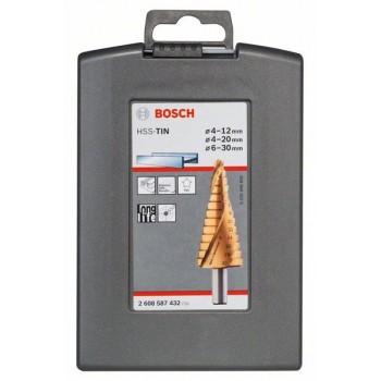 BOSCH 3-dielna súprava stupňovitých vrtákov HSS-TiN 4-12</br> 4-20</br> 6-30 mm