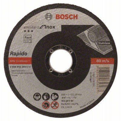 BOSCH Rovný rezací kotúč Standard for Inox - Rapido WA 60 T BF, 115 mm, 22,23 mm, 1,0 mm