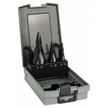 BOSCH 3-dielna súprava stupňovitých vrtákov HSS-AlTiN 4-12</br> 4-20</br> 6-30 mm