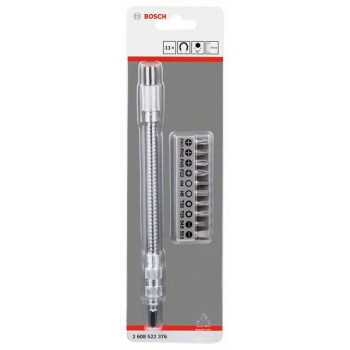 BOSCH 11-dielna súprava skovovým flexibilným nadstavcom SDB Kovový flexibilný nadstavec, 200mm, súprava skrutkovacích hrotov, PH1, PH2, PH3, PZ2, Hex4, Hex5, T20, T25, SL 0,6 × 4,5</br> SL 0,8 × 5,5