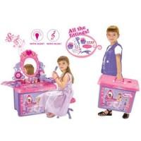 Detský kozmetický stolík G21 so zrkadlom a zvukmi v kufri